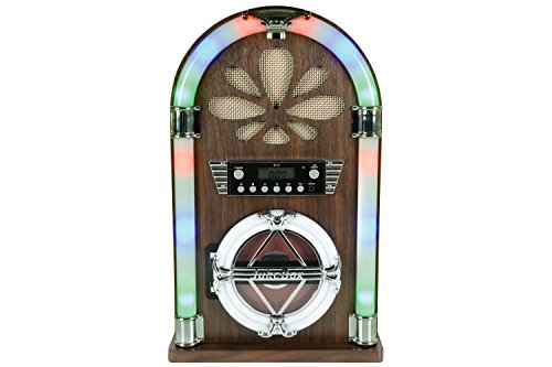 QTX – Mini Jukebox Roadhouse con Bluetooth, Reproductor de CD y Radio FM