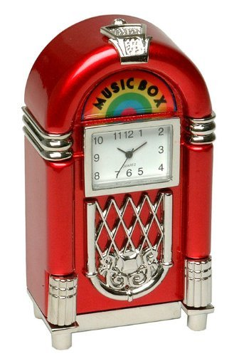 Techno Retro Miniature Red Jukebox Clock by justagift