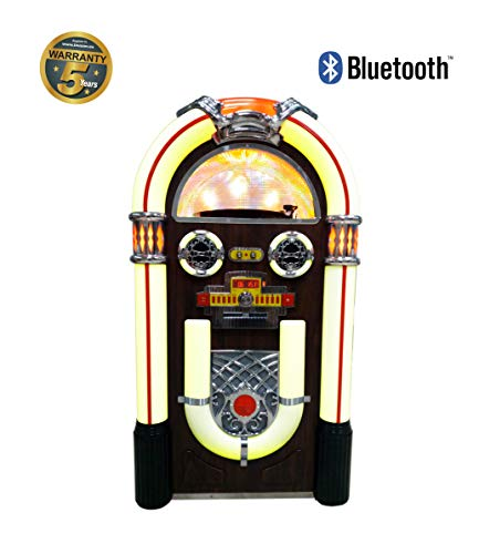 Lauson CL148 Jukebox Reproductor de Vinilos con Bluetooth | Gramola Tocadiscos Vintage con Luces, Lector de CD, Radio FM, USB, MP3, Conexión Bluetooth y RCA | Altavoces Incorporados de 20 Watts