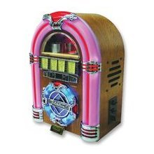 Steepletone Mini Jukebox with 7 colour changing LED lights and CD Player, AM/FM radio and USB socket for MP3 playback finished in light wood, [Importado de Reino Unido]