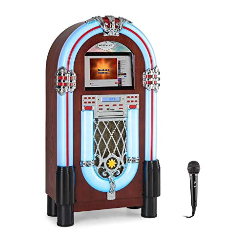 auna Graceland Touch – Gramola, Panel de Control táctil 12», Reproductor CD, MP3, Bluetooth, Micrófono, Sintonizador Radio FM, Puerto USB, Ranura SD, Iluminación LED, 7 Colores, Marrón