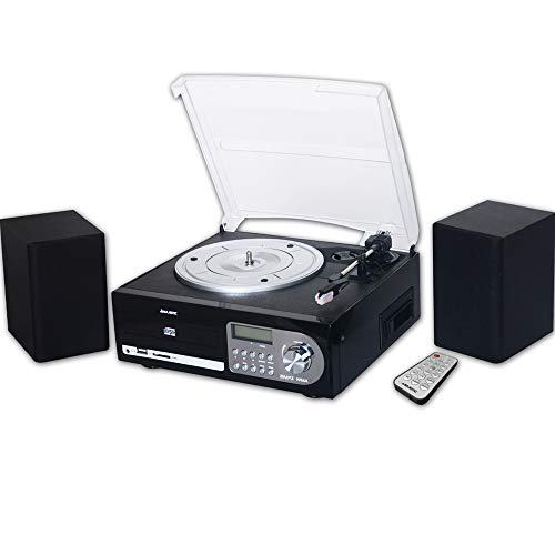 Majestic TT 38R CD TP USB SD – Tocadiscos 33/45/78 RPM, Reproductor de CD/MP3, Casete, Entrada USB/SD, Color Negro