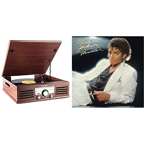 Sunstech PXR3 – Tocadiscos (33 y 45 RPM, USB, FM), Color marrón + Thriller [Vinilo]