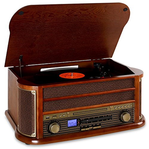 auna Belle Epoque 1908 – Tocadiscos estéreo Retro, Accionamiento por Correa, Radio Digital, Reproductor de CD, MP3, RDS, Casete, USB, Digitalizador, Mando a Distancia, Bluetooth, Marrón